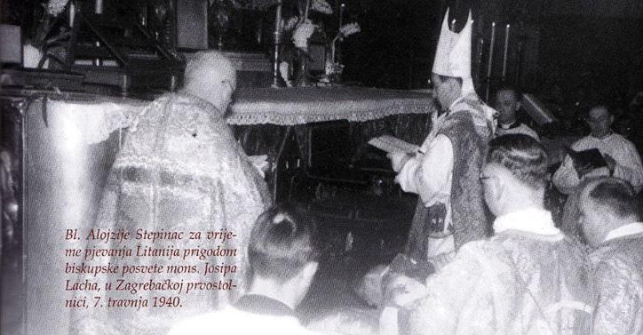 Pjevanje litanija povodom biskupske posvete mons. Josipa Lacha u zagrebačkoj katedrali 7. travnja 1940.