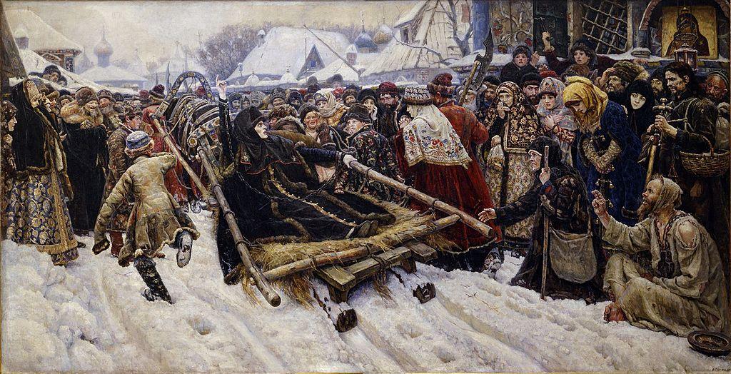 """Na ovoj slici """"Boljarka Teodosija Morozova"""", Vasilija Surikova (1887.), vidi se kako Morosova drži podignuta"""