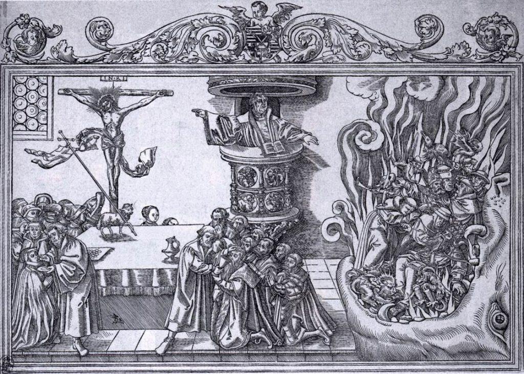 Gravura Lucasa Cranacha Starijeg prikazuje Luthera koji propovijeda Krista, dok papa i katolički kler gore u paklu. Zanimljiv detalj predstavlja prikaz luterana koji primaju Pričest klečeći, na usta.