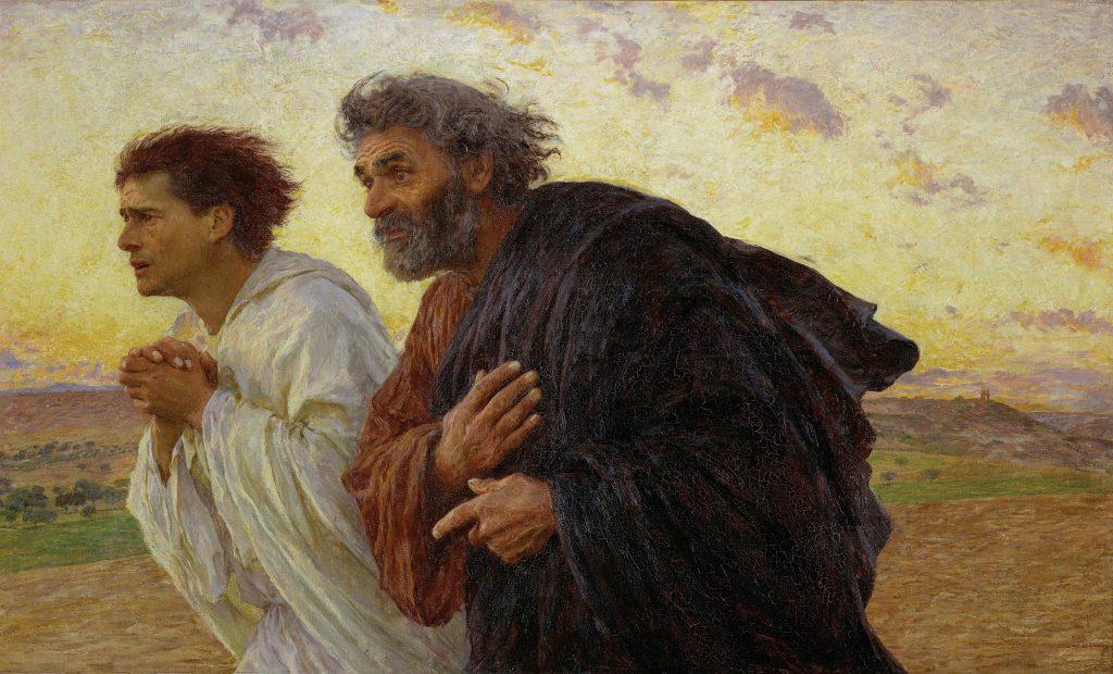 """""""Učenici Petar i Ivan trče do grobnice na uskršnje jutro"""", Eugène Burnand (1898)"""